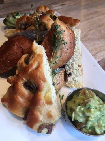 Plate to share!. Homemade focaccia, bread with guacamole